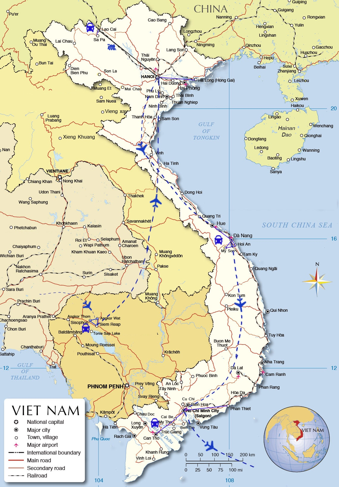ADT04: Indochina Tour of a life time - 20 days from Siem Reap map