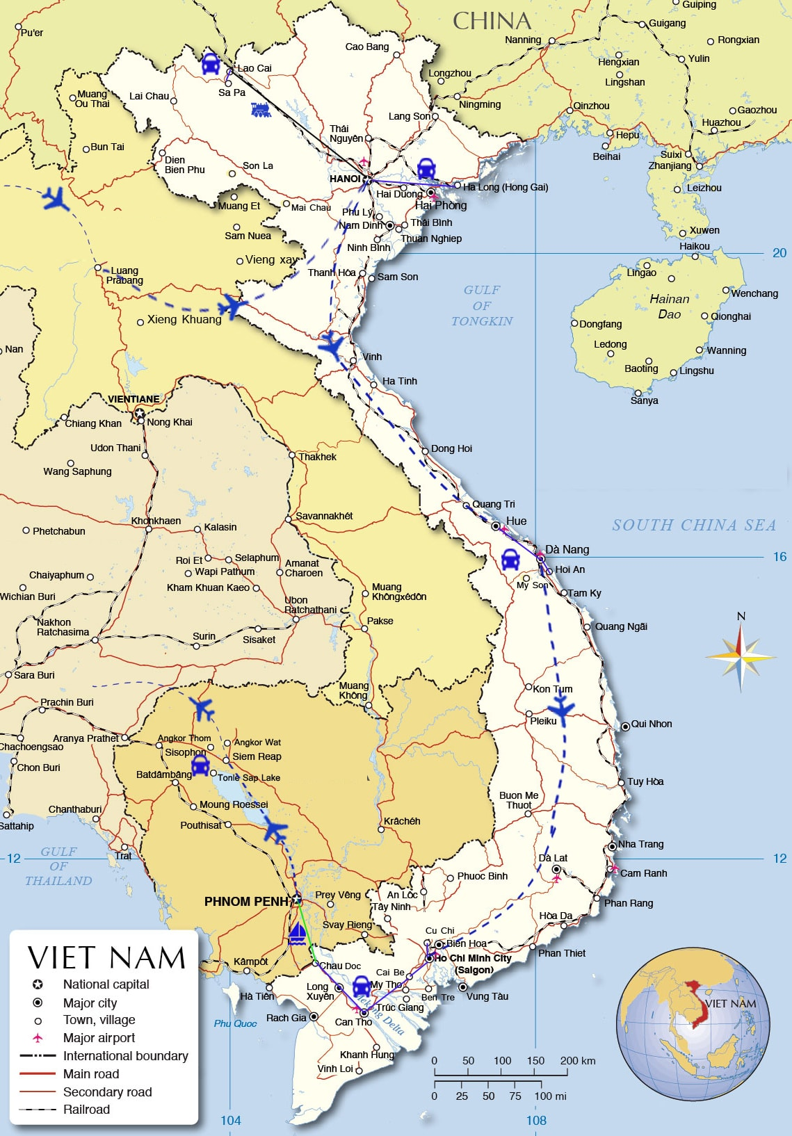 ADT05: Unique Indochina Tour  - 19 days from Luang Prabang  map