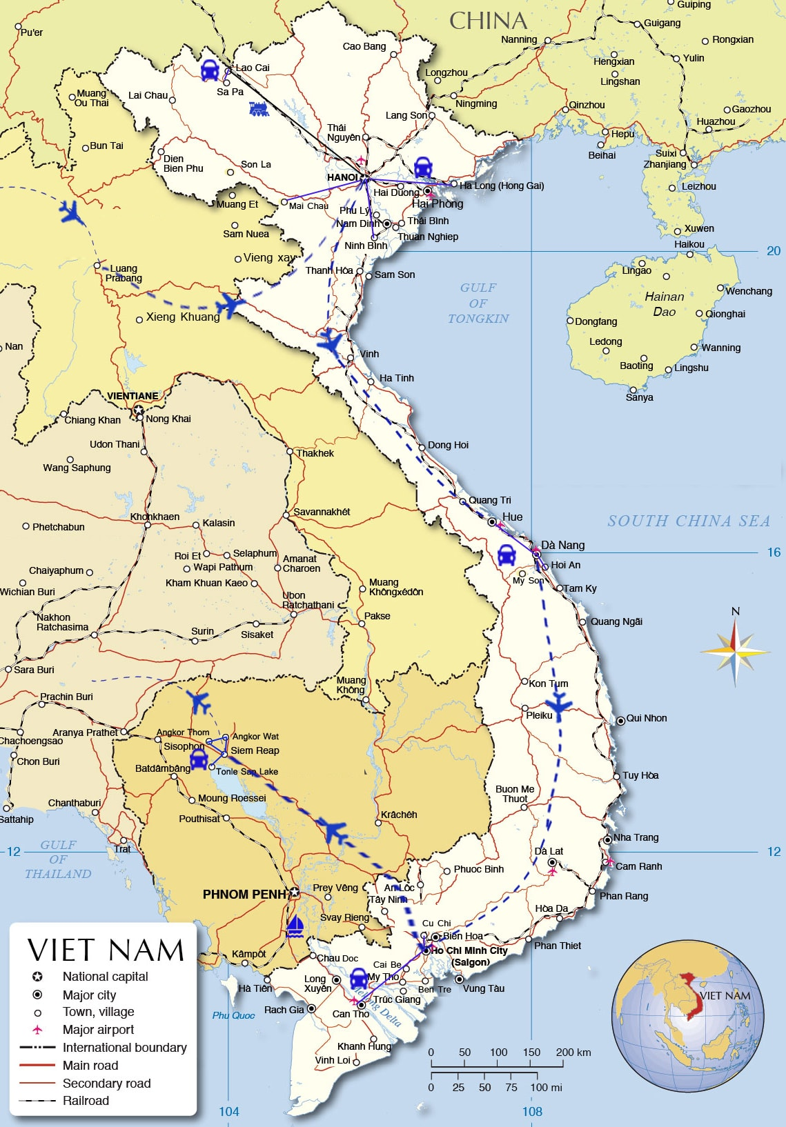 IDT02: Indochina Holiday with all the highlights  - 21 days from HN map