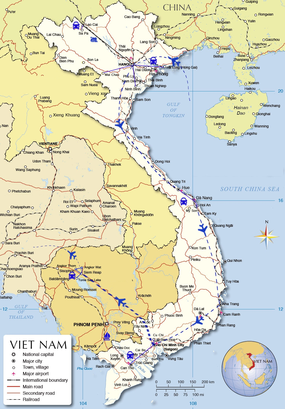 IDT06: Authentic Indochina Holiday - 19 days from HN map