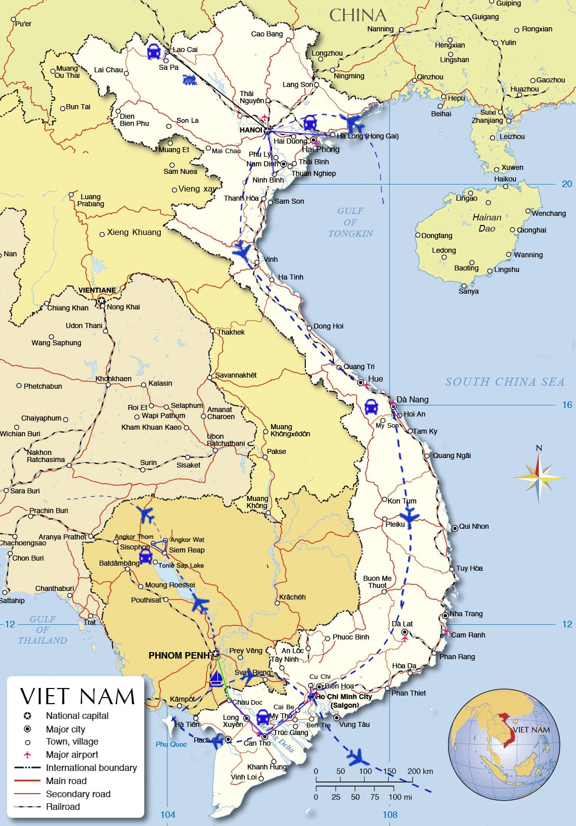 IDT09: Indochina Tours in colors - 21 days from Hanoi map