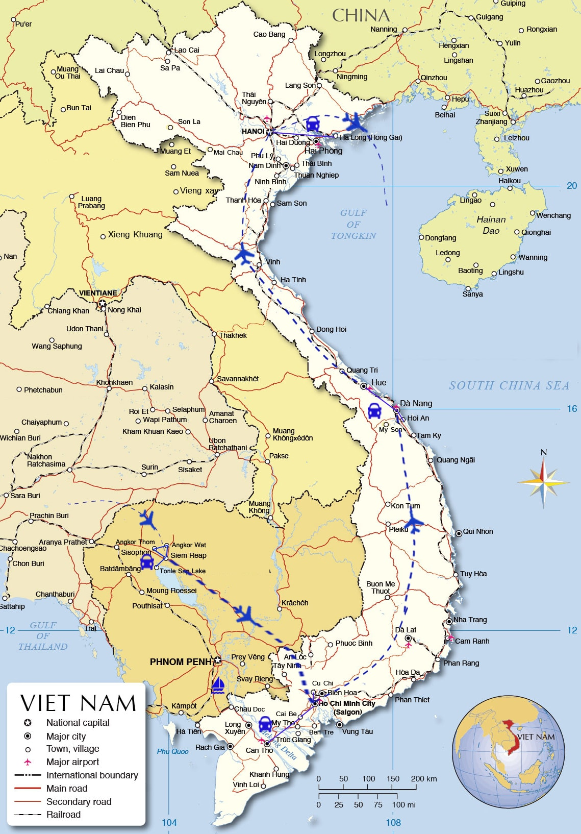 IDT16: Quick Holiday Cambodia and Vietnam - 12 days from Siem Reap map