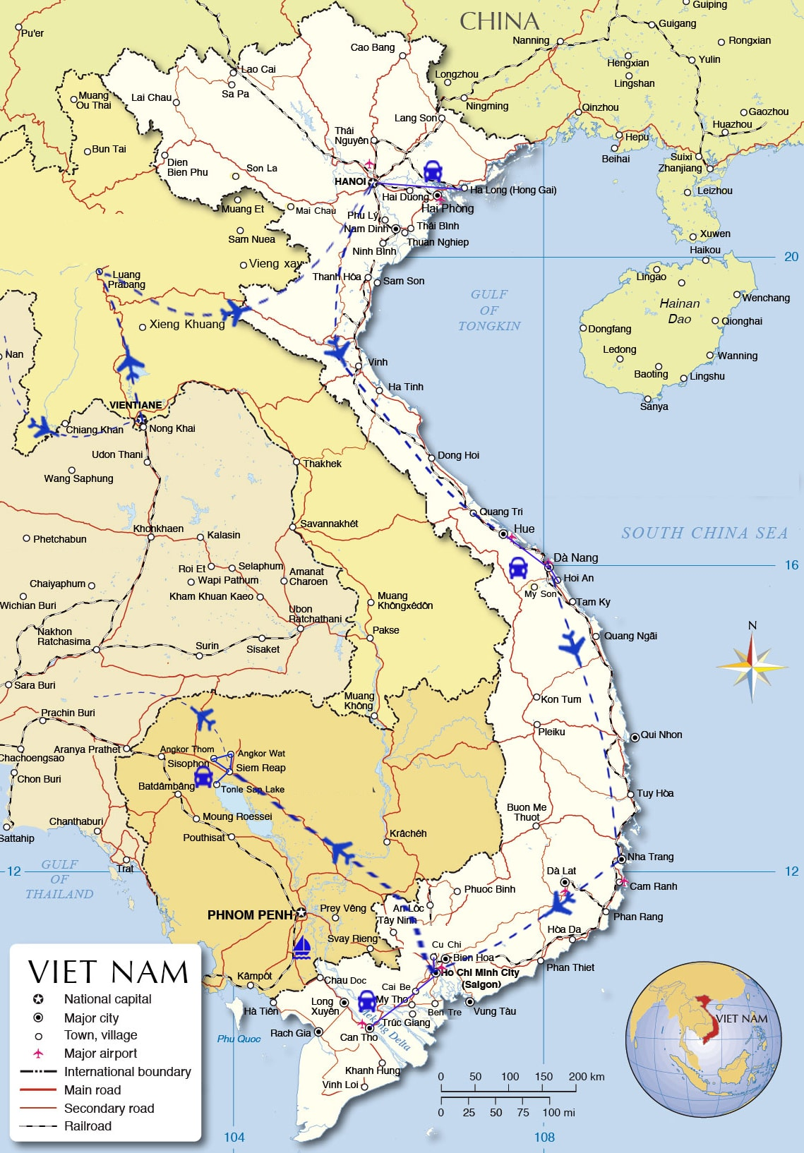 IDT17: Sparkling Indochina Tour - 20 day from Vientiane map