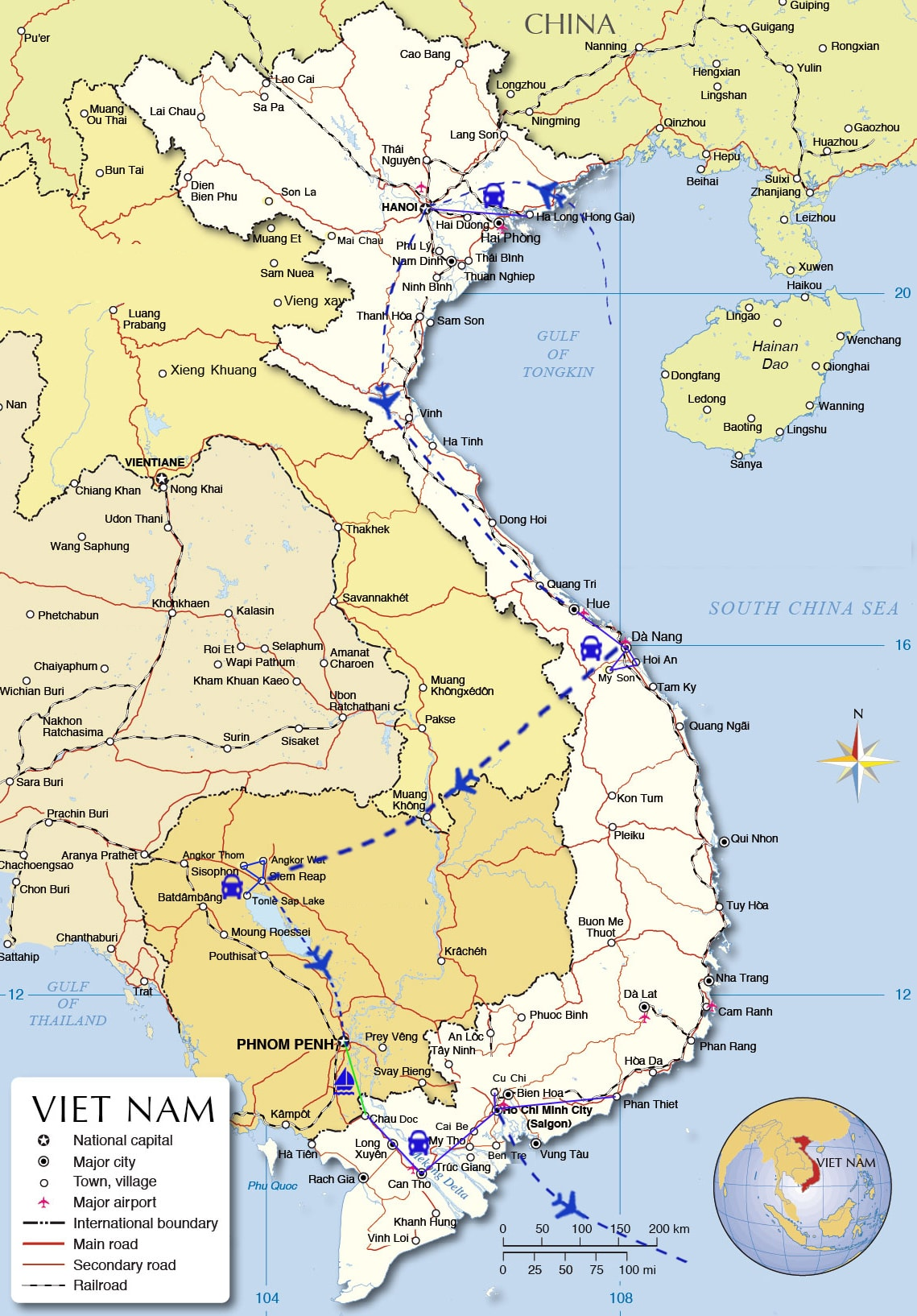 IFT03: Best of Vietnam & Cambodia Family Tour - 21 days from Hanoi map