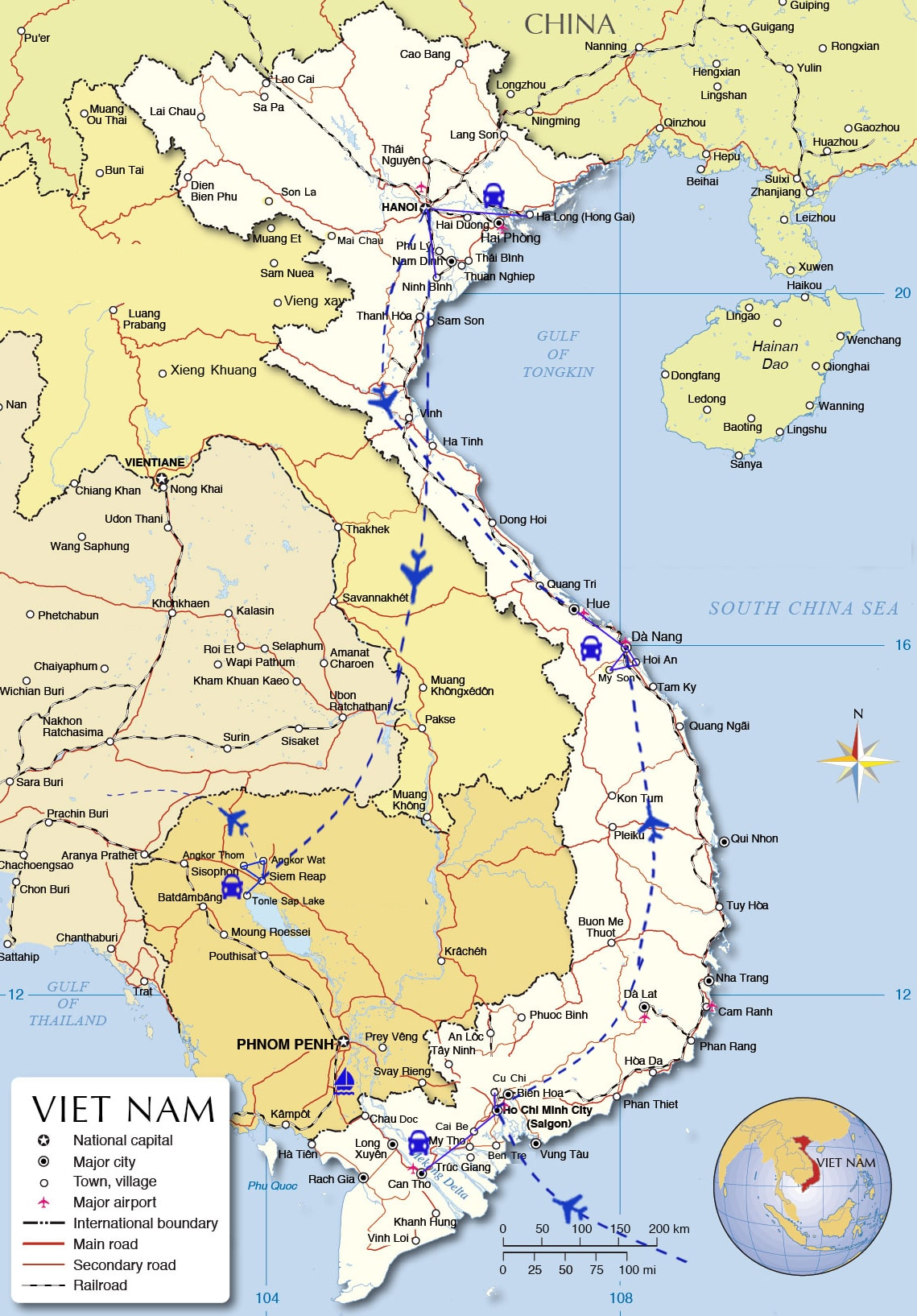 ILT03: Vietnam & Cambodia Holiday - 15 days from Ho Chi Minh City map