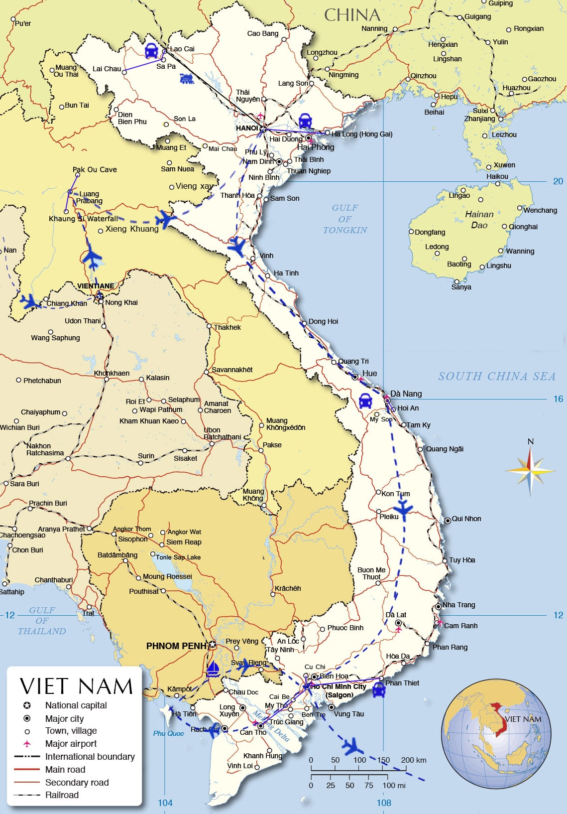 LFT02: Exploring Laos and Vietnam - 21 days from Vientiane map