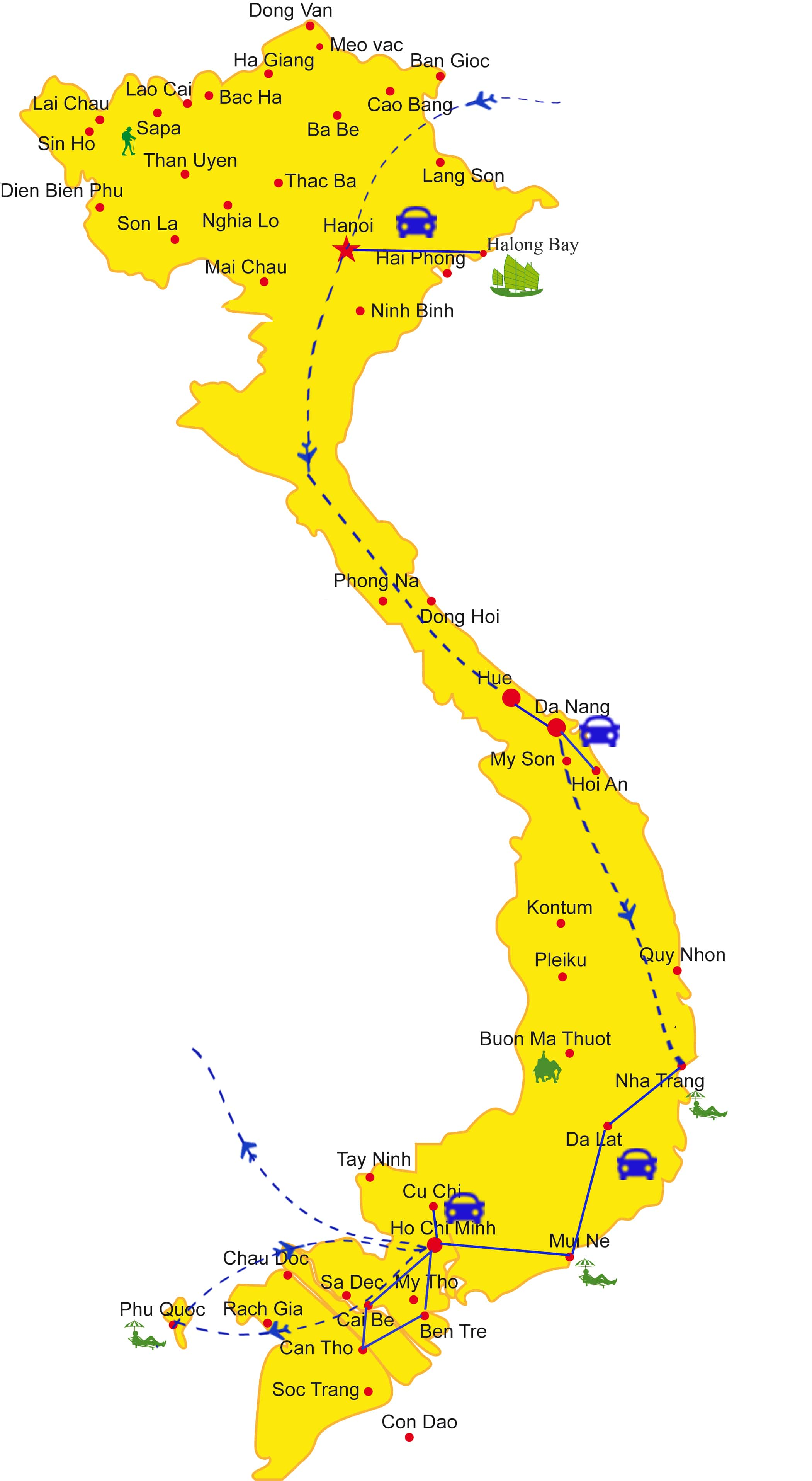 VF08: Family Tour along the coast - 19 days from Hanoi map
