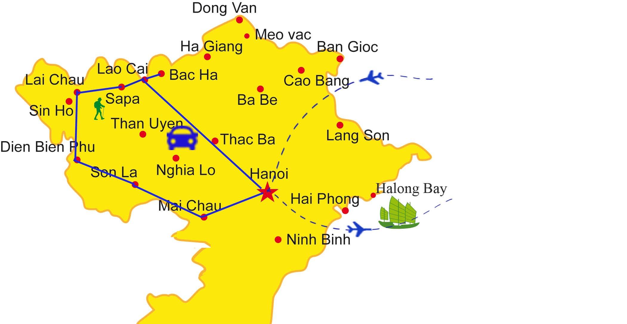 AD08: Northwest Vietnam - 11 days / 10 nights map