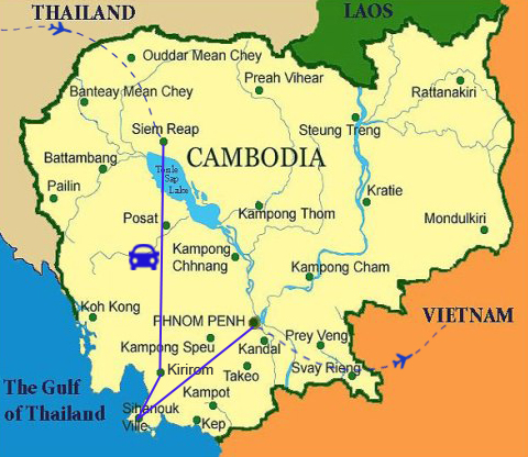 AC03: Coastal Cambodia Adventure - 8 days / 7 nights map