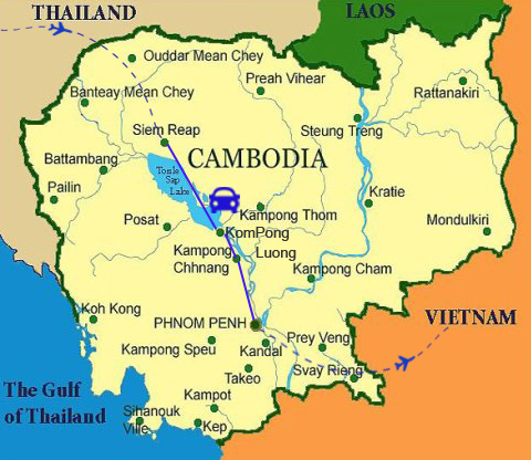 LC01: Siem Reap - Phnom Penh Cruise Tour - 3 Days / 2 Nights map