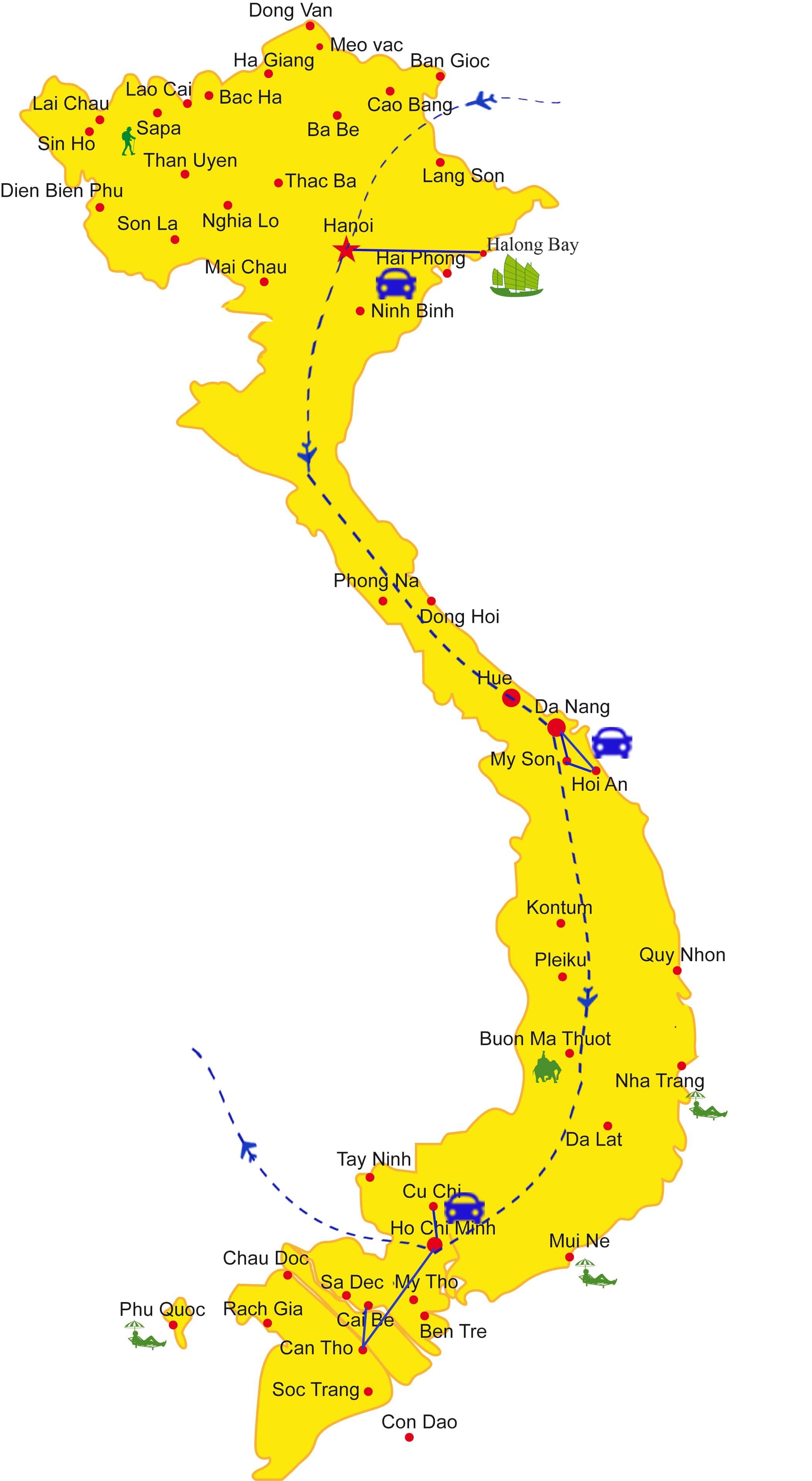 VLT11: Comfort Tour Vietnam - 12 days from HN map