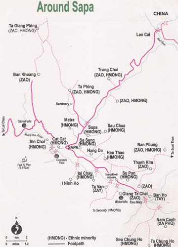 ST02: Trekking to Muong Hoa Valley - Full Day map
