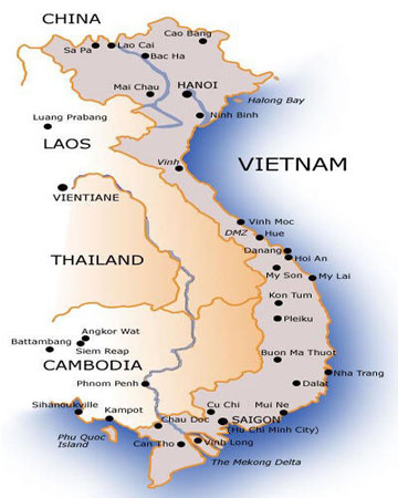 HO08: Cu Chi Tunnels - Mekong Tour - 4 days / 3 nights map