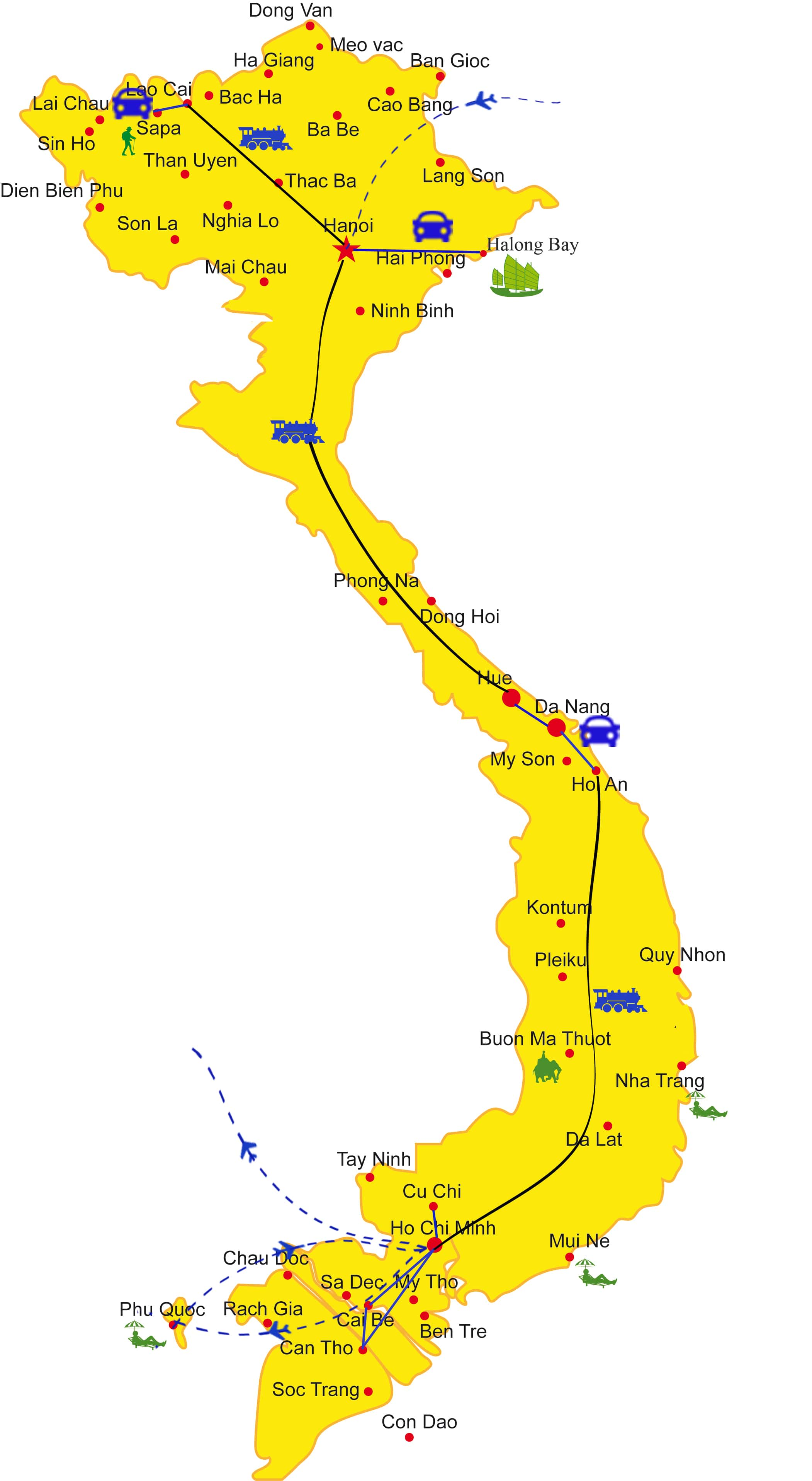 VT08: Vietnam Holiday By Train - 18 days  from  Hanoi map