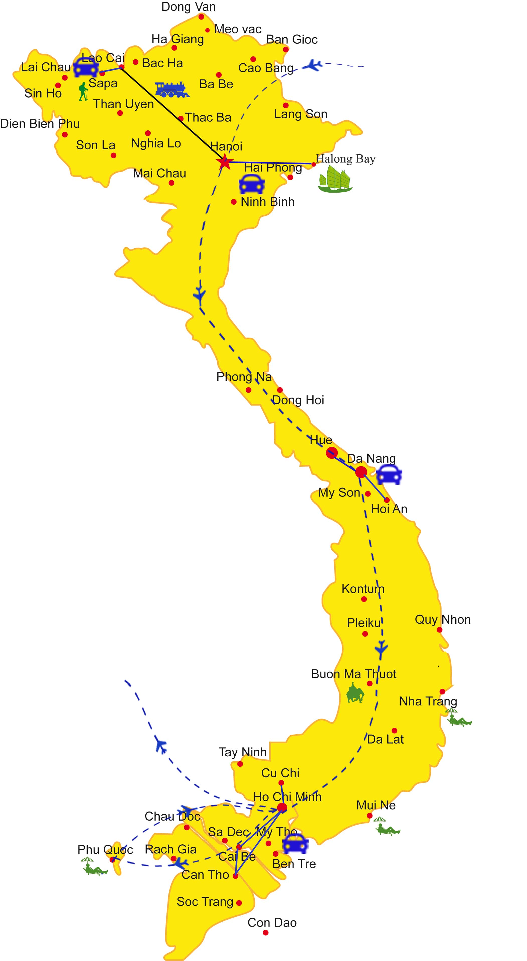 VT13: Romantic Vietnam Holiday - 16 days from Hanoi map